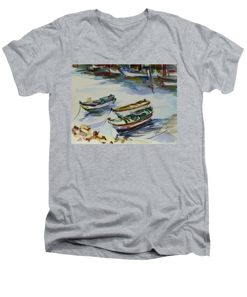 Men's V-Neck T-Shirt featuring the painting 3 Boats I by Xueling Zou