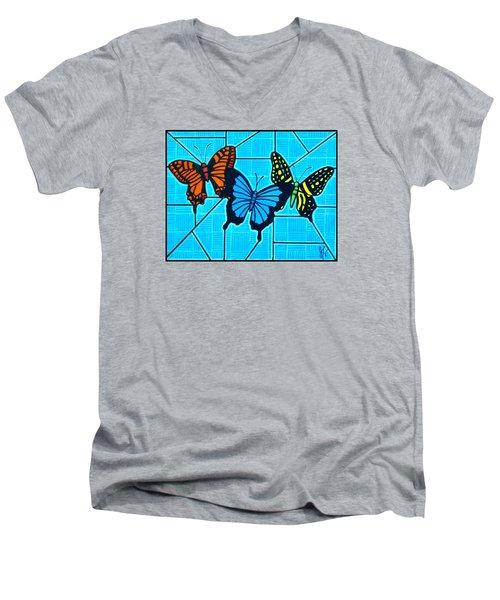 3  Butterflies On Blue Men's V-Neck T-Shirt