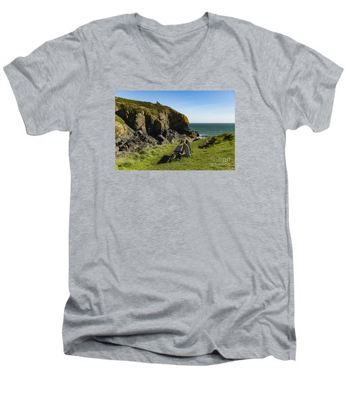 Cadgwith Cove Men's V-Neck T-Shirt by Brian Roscorla