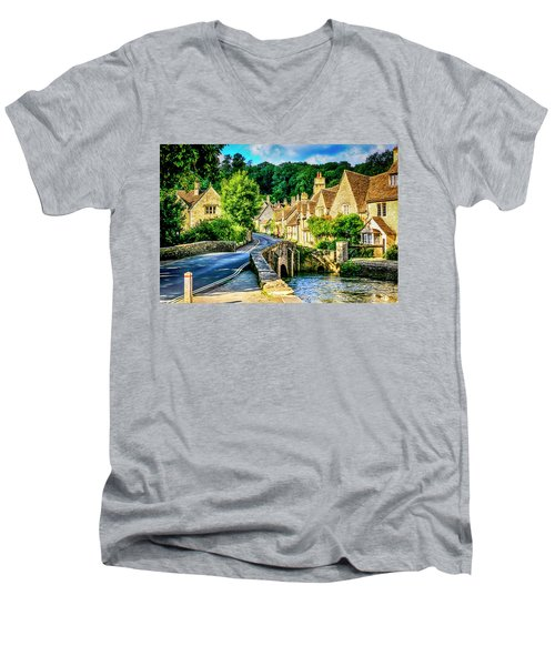 Castle Combe Village, Uk Men's V-Neck T-Shirt