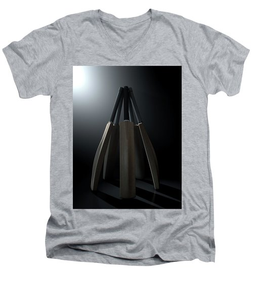 Cricket Back Circle Dramatic Men's V-Neck T-Shirt by Allan Swart
