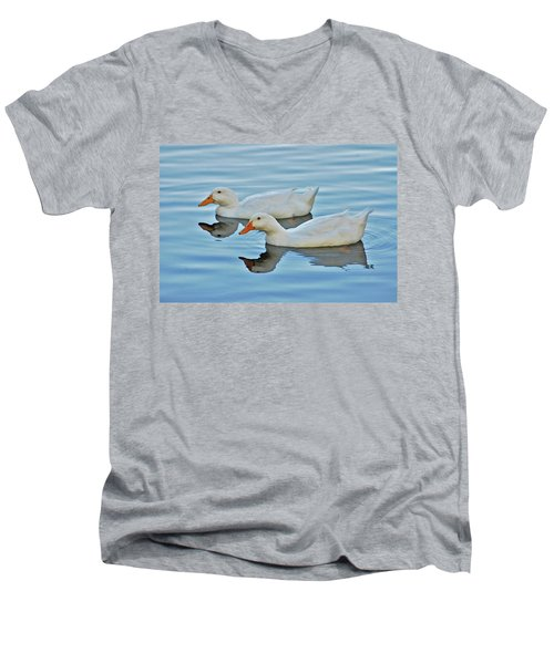 Men's V-Neck T-Shirt featuring the photograph 3- Ducks by Joseph Keane