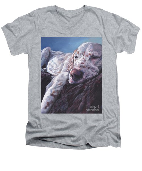 Men's V-Neck T-Shirt featuring the painting English Setter by Lee Ann Shepard