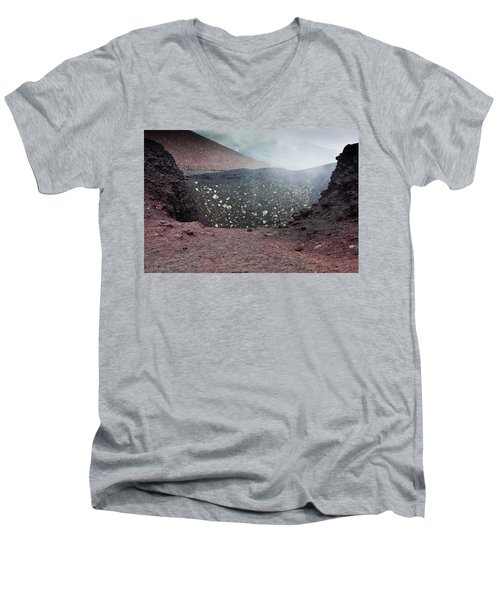 Etna, Red Mount Crater Men's V-Neck T-Shirt