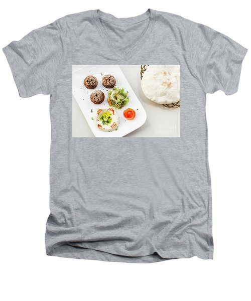 Falafel Hummus Houmus Starter Snack Food Mezze Platter Men's V-Neck T-Shirt