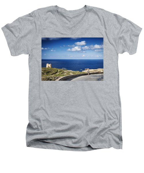 Fort And Coast View Of Gozo Island In Malta Men's V-Neck T-Shirt