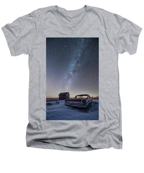 Men's V-Neck T-Shirt featuring the photograph 3 Galaxies  by Aaron J Groen