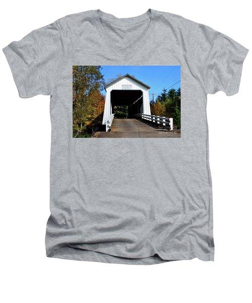 Gallon House Covered Bridge Men's V-Neck T-Shirt by Ansel Price