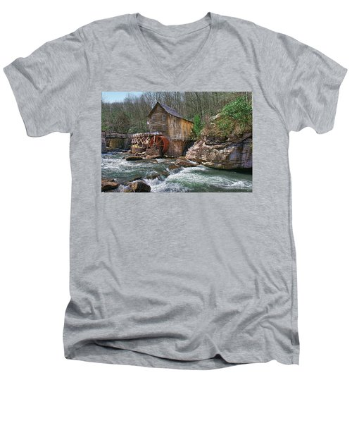 Glade Creek Grist Mill Men's V-Neck T-Shirt by Mary Almond