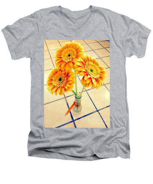 Men's V-Neck T-Shirt featuring the photograph 3 Golden Yellow Daisies Gift To My Beautiful Wife Suffering With No Hair Suffering Frombreast Cancer by Richard W Linford