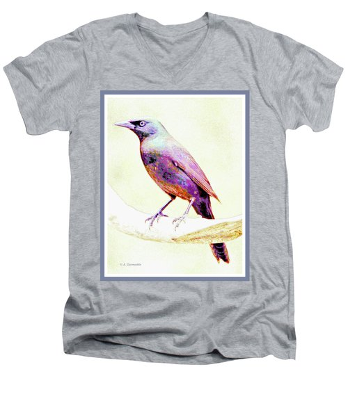 Great-tailed Grackle Men's V-Neck T-Shirt by A Gurmankin