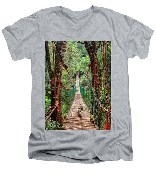 Men's V-Neck T-Shirt featuring the photograph Hanging Bridge by Alexey Stiop