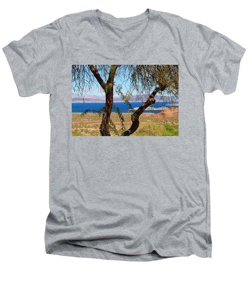 Hoover Dam Visitor Center Men's V-Neck T-Shirt by Kathryn Meyer
