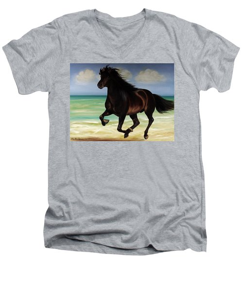Horses In Paradise  Run Men's V-Neck T-Shirt