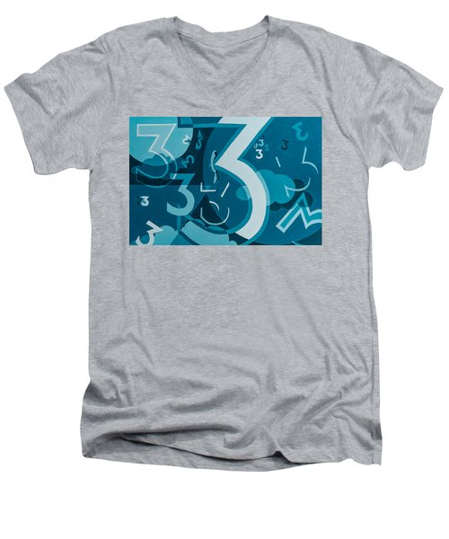 3 In Blue Men's V-Neck T-Shirt