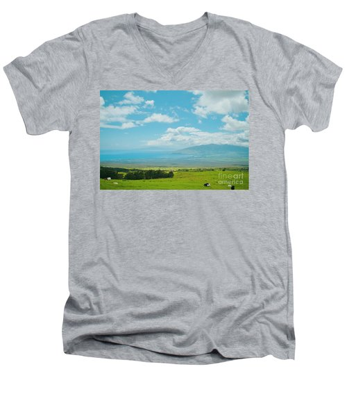 Kula Maui Hawaii Men's V-Neck T-Shirt by Sharon Mau