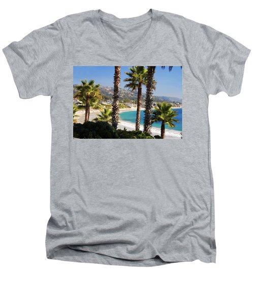 Laguna Beach California Coast Men's V-Neck T-Shirt by Utah Images