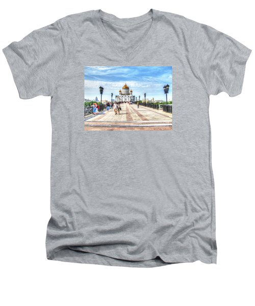 Moscow Russia Men's V-Neck T-Shirt by Yury Bashkin