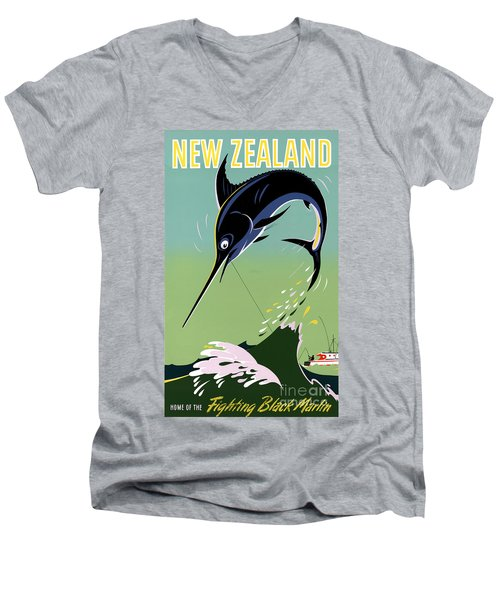 New Zealand Vintage Travel Poster Restored Men's V-Neck T-Shirt