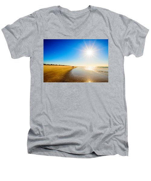3 On The Beach  Men's V-Neck T-Shirt by John Harding
