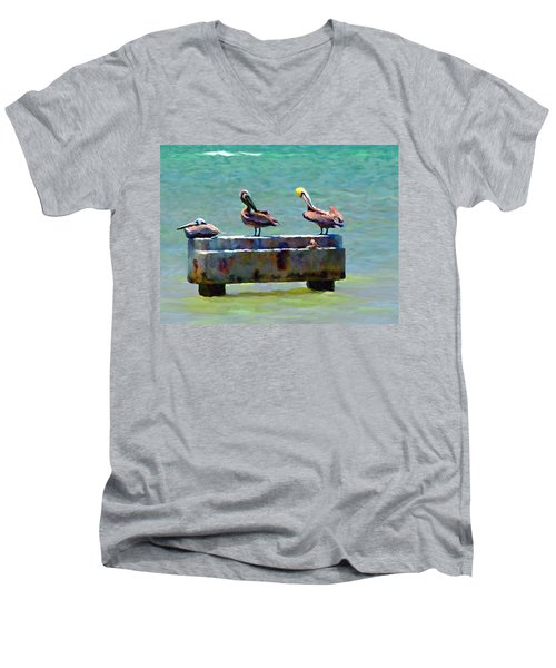 3 Pelicans Men's V-Neck T-Shirt