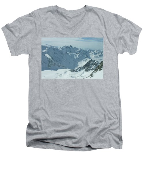 Men's V-Neck T-Shirt featuring the photograph Pitztal Glacier by Christian Zesewitz