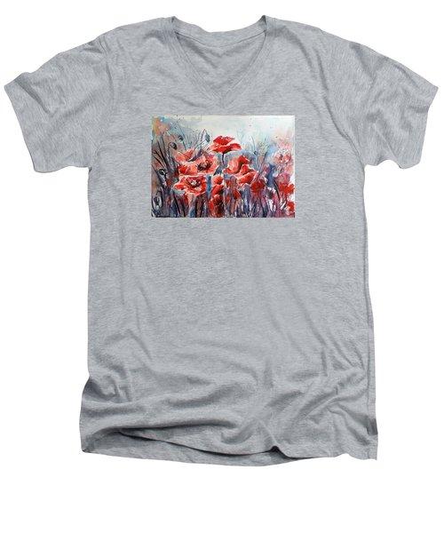 Poppies Men's V-Neck T-Shirt by Kovacs Anna Brigitta