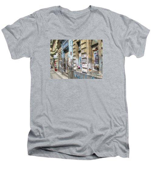 Praha Street Men's V-Neck T-Shirt by Yury Bashkin