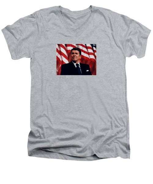 President Ronald Reagan Men's V-Neck T-Shirt by War Is Hell Store