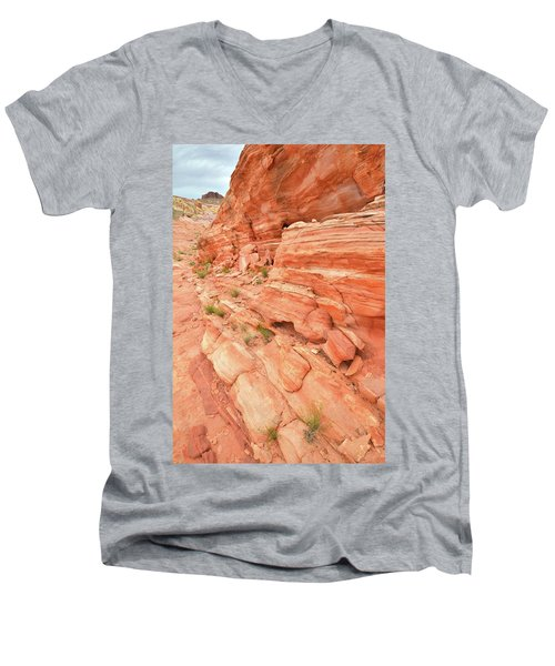 Men's V-Neck T-Shirt featuring the photograph Sandstone Wall In Valley Of Fire by Ray Mathis