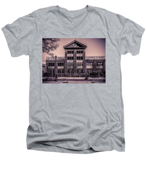 Men's V-Neck T-Shirt featuring the photograph Sauer Building by Melissa Messick