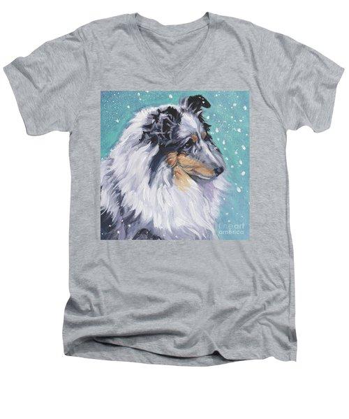 Men's V-Neck T-Shirt featuring the painting Shetland Sheepdog by Lee Ann Shepard