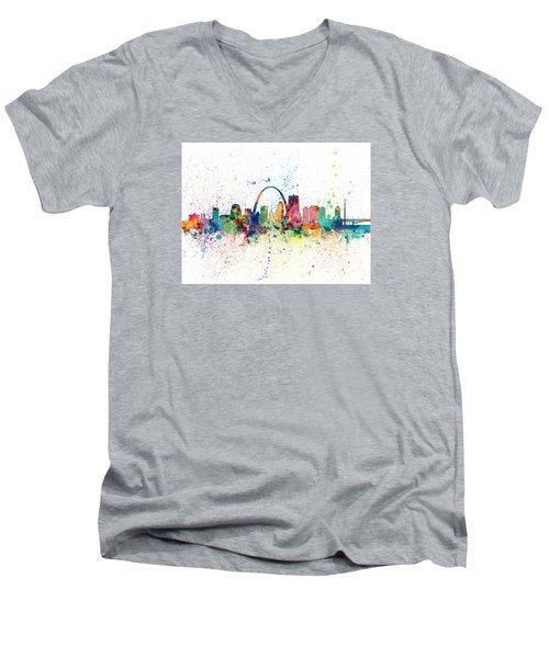 St Louis Missouri Skyline Men's V-Neck T-Shirt by Michael Tompsett
