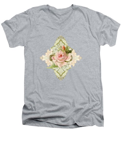 Summer At The Cottage - Vintage Style Damask Roses Men's V-Neck T-Shirt by Audrey Jeanne Roberts