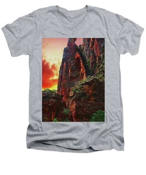 Sunrise In Canyonlands Men's V-Neck T-Shirt by Gary Baird