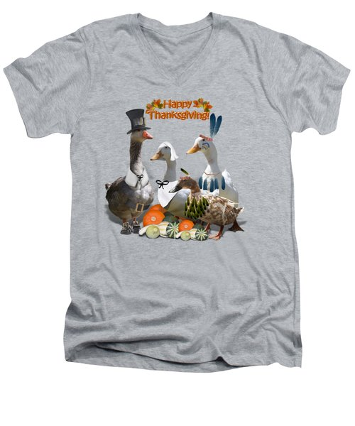 Thanksgiving Ducks Men's V-Neck T-Shirt