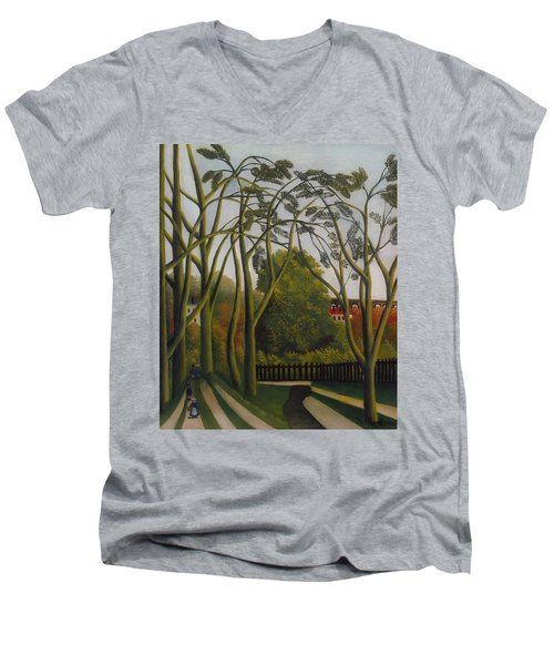 Men's V-Neck T-Shirt featuring the painting The Banks Of The Bievre Near Bicetre by Henri Rousseau