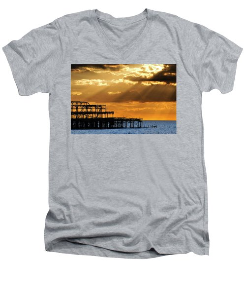 The West Pier In Brighton At Sunset Men's V-Neck T-Shirt