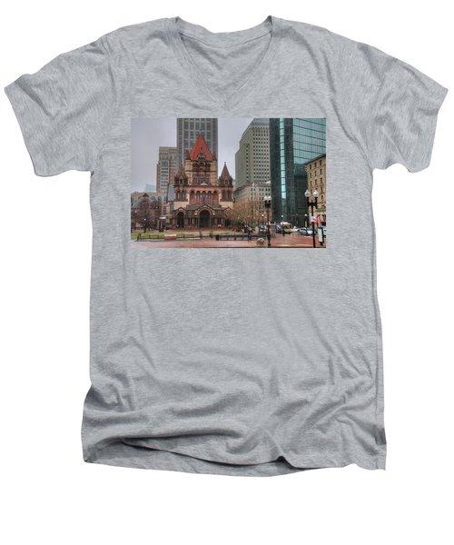 Men's V-Neck T-Shirt featuring the photograph Trinity Church - Copley Square - Boston by Joann Vitali