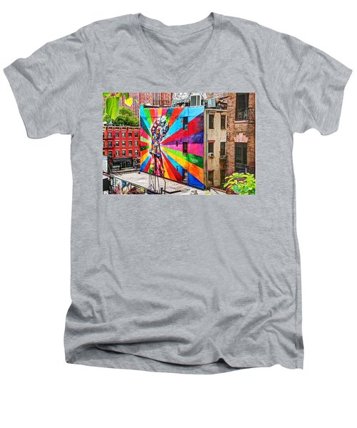 V - J Day Mural By Eduardo Kobra Men's V-Neck T-Shirt