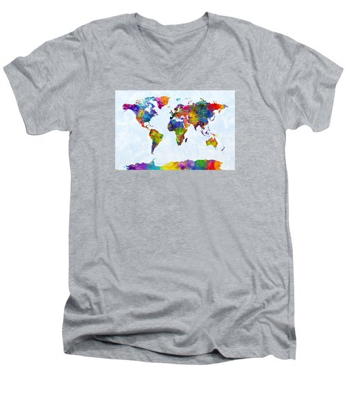 Watercolor Map Of The World Map Men's V-Neck T-Shirt by Michael Tompsett