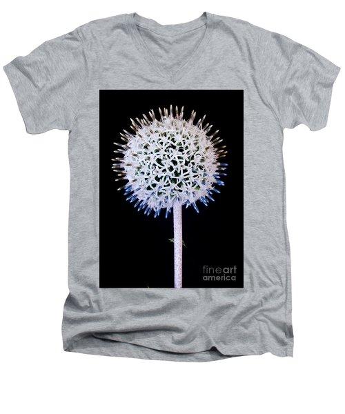 White Alium Onion Flower Men's V-Neck T-Shirt