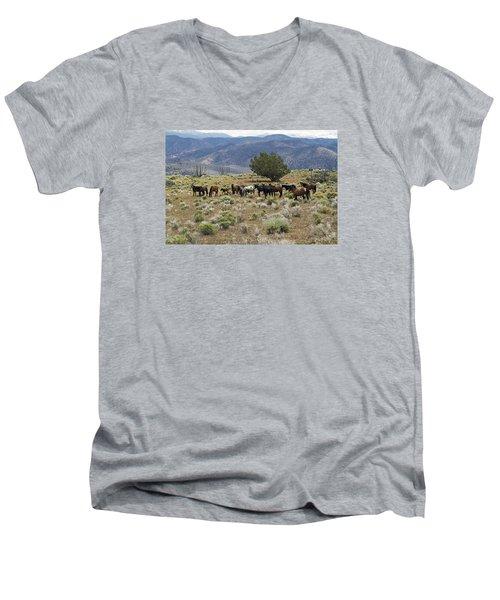 Wild Mustang Horses Men's V-Neck T-Shirt