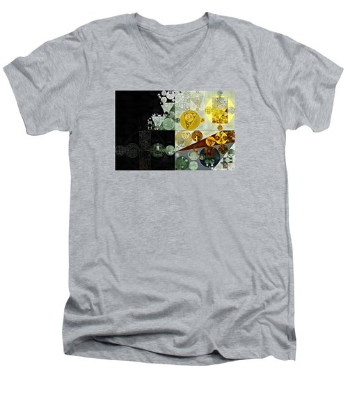 Men's V-Neck T-Shirt featuring the digital art Abstract Painting - Smoky Black by Vitaliy Gladkiy
