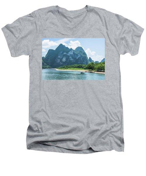 Lijiang River And Karst Mountains Scenery Men's V-Neck T-Shirt