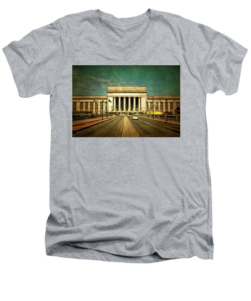 Men's V-Neck T-Shirt featuring the mixed media 30th Street Station Traffic by Trish Tritz