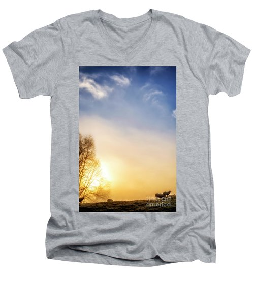 Men's V-Neck T-Shirt featuring the photograph Misty Mountain Sunrise by Thomas R Fletcher