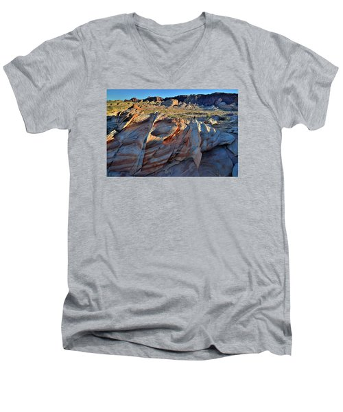 Men's V-Neck T-Shirt featuring the photograph Colorful Sandstone In Valley Of Fire by Ray Mathis