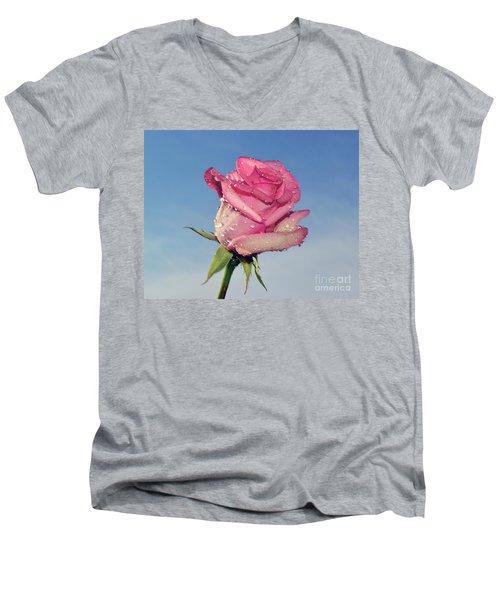 Nice Rose Men's V-Neck T-Shirt by Elvira Ladocki