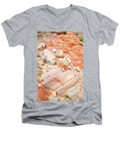 Men's V-Neck T-Shirt featuring the photograph Multicolored Sandstone In Valley Of Fire by Ray Mathis